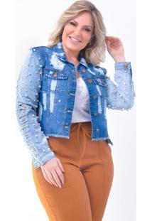 Jaqueta Plus Size Jeans Destroyed: Azul Jeans: 46