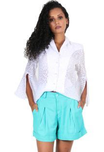 Camisa Romaria Social Transparente Com Detalhes Branca