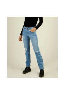 Calça Jeans Reta Feminina Puídos Marisa