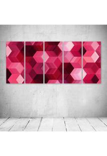 Quadro Decorativo - Cubes Pink - Composto De 5 Quadros - Multicolorido - Dafiti