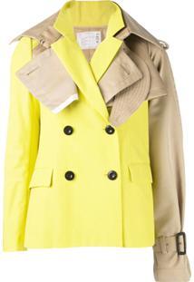 Sacai Jaqueta Assimétrica Com Abotoamento - Amarelo