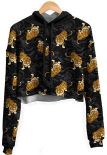 Blusa Cropped Moletom Feminina Over Fame Tigre Japonãªs Md01 - Preto - Feminino - Poliã©Ster - Dafiti