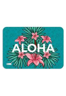 Tapete Decorativo Verde Flores Rosa Aloha 40X60Cm