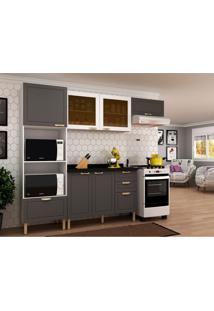 Cozinha Compacta Nevada I 6 Pt 4 Gv Grafite E Branca