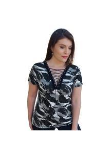 T-Shirt Madalih Blusa Decote V Com Ilhós Trançado Cordão Camuflado