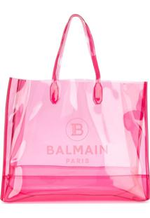 Balmain Bolsa Tote Transparente Grande - Rosa