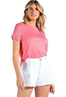 Blusa Feminina Doce Trama Com Bolso Rosa - P