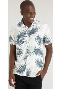 Camisa Masculina Relaxed Estampada De Folhagem Com Linho Manga Curta Off White
