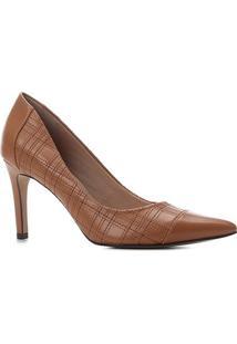 Scarpin Couro Shoestock Salto Alto Bordado Xadrez - Feminino-Caramelo