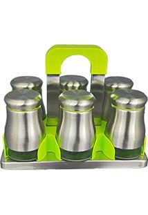 Porta Temperos Condimentos Organizador Em Vidro E Inox 6 Peças - Joyplus