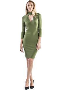 Vestido Canelado Gola Alta Forum - Feminino-Verde