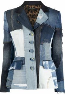 Dolce & Gabbana Blazer Jeans Dolce Com Patchwork - Azul