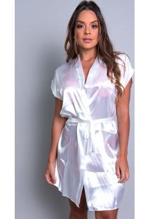 Robe Mvb Modas Noiva Roupão Cetim Personalizado Branco. - Kanui