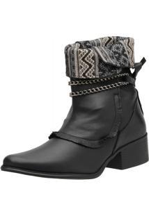 Ankle Boot Flor Da Pele Preto