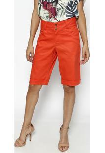 Bermuda Em Sarja Com Pespontos- Laranja- Dress Todayênfase