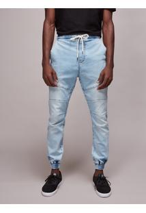 Calça Jeans Masculina Jogger Com Recortes Azul Claro