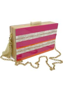 Bolsa La Madame Co Clutch Listras Colors
