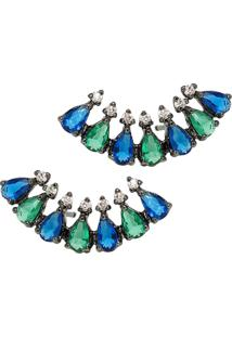 Brinco Infine Ear Cuff Azul E Verde