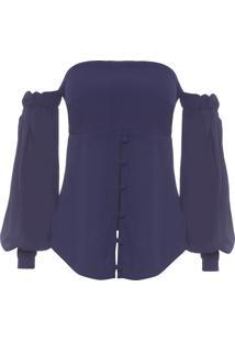 Blusa Feminina Ombro A Ombro - Azul