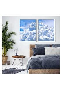 Quadro 65X90Cm Nuvens Céu Azul Moldura Branca Com Vidro