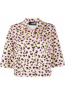 Love Moschino Jaqueta Cropped Com Animal Print - Rosa