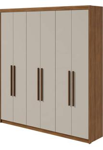 Guarda Roupa Libra 6 Portas Rovere Naturale/Off White