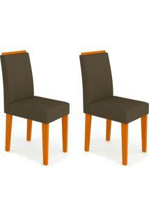 Conjunto Com 2 Cadeiras Amanda Ipê E Marrom