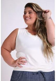 Regata Renda Kauê Plus Size Feminina - Feminino-Off White