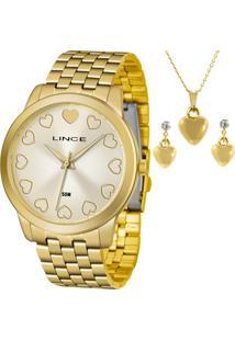 Kit Relógio Lince Feminino Com Colar E Brincos Lrgh093Lkv72C1Kx