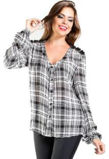 54012ca290 Camisa Jeans Xadrez feminina