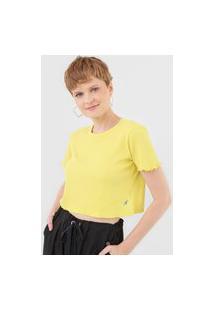 Blusa Cropped Cantão Canelada Amarela