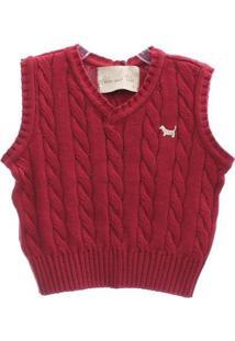 Colete Tricot - Masculino-Vermelho