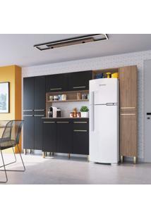 Cozinha Compacta 11 Portas 4 Peças Eva Espresso Móveis Havana/Preto