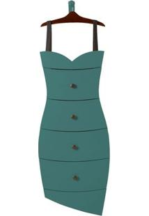 Cômoda 4 Gavetas Dress Maxima Cacau/Azul Claro
