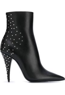 Saint Laurent Ankle Boot Com Cristais - Preto