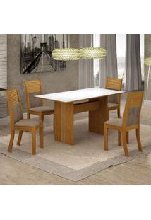 Conjunto De Mesa De Jantar Florença Ii Com 4 Cadeiras Havaí Suede Branco E Cappuccino