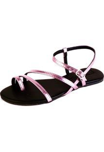 Sandalia Rasteira Mercedita Shoes Tiras Metalizadas Rosa - Tricae