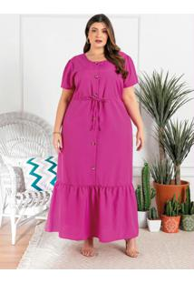 Vestido Longo Plus Size Pink Com Botões