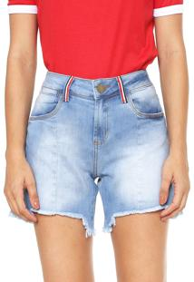 Bermuda Jeans Malwee Reta Assimétrica Azul