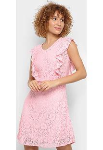 Vestido Pérola Evasê Curto Renda - Feminino-Rosa