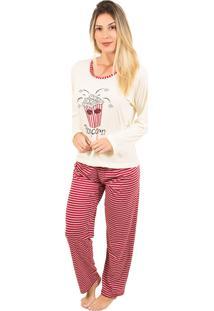 Pijama Bella Fiore Modas Longo Fran Vermelho