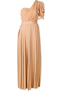 Self-Portrait One Shoulder Pleated Dress - Neutro