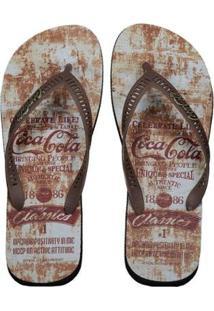 Chinelo Coca Cola Unique Masculino - Masculino-Marrom