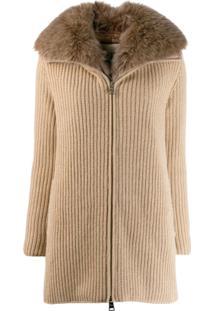 Herno Ribbed Cashmere Zip-Up Jacket - Neutro