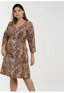 150f50f12 R$ 89,95. Marisa Vestido Feminino Estampa Animal Print Plus Size ...