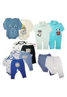Kit 12 Pçs Roupa Bebê Enxoval Menino Menina Inverno Estiloso Azul