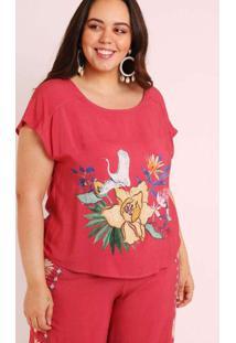 Blusa Almaria Plus Size Munny Estampada Cisne Flor