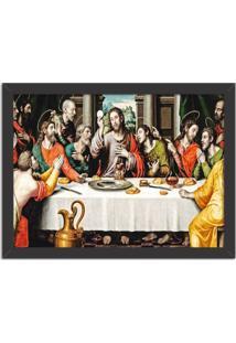 Quadro Decorativo Religião Santa Ceia Preto - Médio