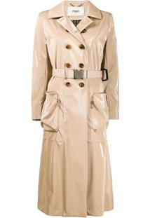 Fendi Trench Coat Com Cinto - Neutro