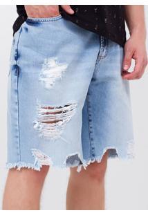 Bermuda Em Jeans Fit Slim